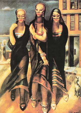 "Sayyid Darwish's famous painting of ""The Girls of Bahari."" They are something of an endangered Alexandrian stereotype, though still a stereotype cemented in Egyptians' minds nonetheless."